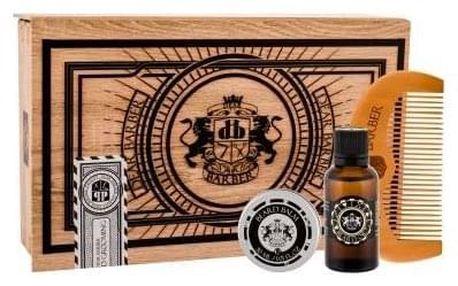DEAR BARBER Beard Oil dárková kazeta pro muže olej na vousy 30 ml + balzám na vousy Beard Balm 30 ml + hřeben na vousy Beard Comb 1 ks