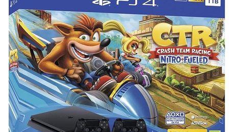 Sony PlayStation 4 1 TB + Crash Team Racing + 2x ovladač černá (PS719936206)