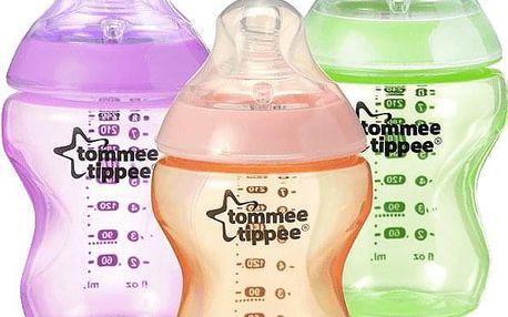 TOMMEE TIPPEE Kojenecká láhev C2N 260ml, 3ks 0m+ růžová, oranžová a zelená