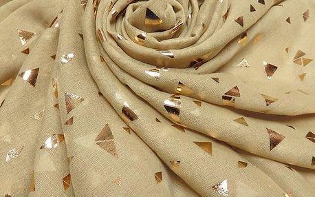 Dámský zlatý šátek Gold crystals