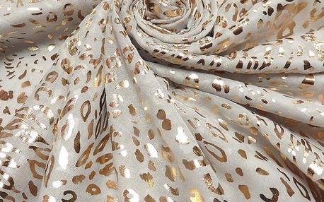 Dámský šedý šátek Gold Leopard