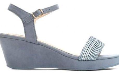Dámské modré sandály na klínku Zanya 1458