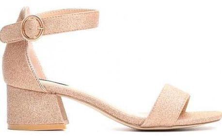 Zlaté sandály na podpatku Yuki 9254