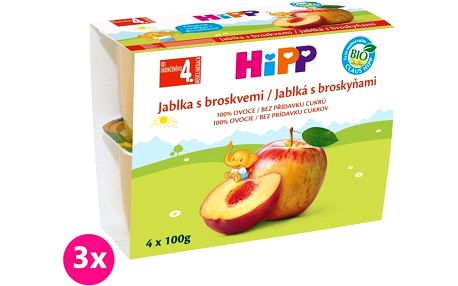 3x HIPP BIO Jablka s broskvemi (4 x 100 g) - ovocný příkrm