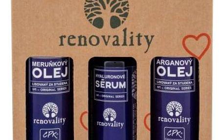 Renovality Original Series Argan Oil dárková kazeta pro ženy tělový olej 100 ml + tělový olej Apricot Oil 100 ml + pleťové sérum Hyaluron Serum 50 ml