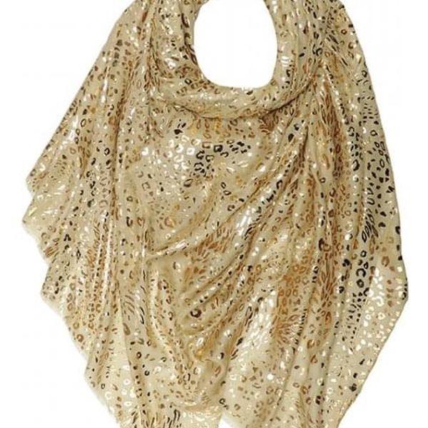 Dámský růžový šátek Gold Leopard2