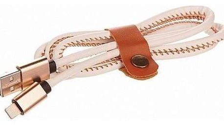 CellFish USB/Lightning, kožený, 1m bílý (CELLLEATWHITEAPP)