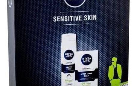 Nivea Men Sensitive dárková kazeta pro muže balzám po holení 100 ml + pěna na holení 200 ml