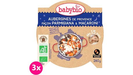 3x BABYBIO Večerní menu lilek na způsob parmigiana s makarony 260 g