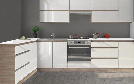 Kuchyně Line - 320x160 cm (bílá vysoký lesk/dub sonoma)