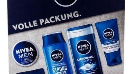 Nivea Men Original dárková kazeta pro muže sprchový gel 250 ml + šampon Strong Power 250 ml + univerzální krém Men Creme 150 ml + denní pleťová péče Protect & Care 75 ml + ručník 1 ks