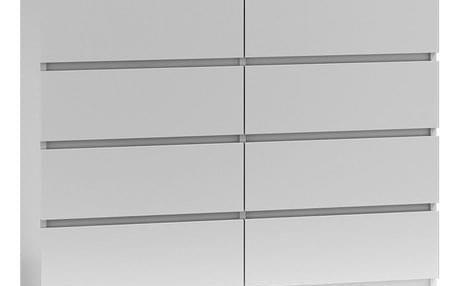 Komoda 8 šuplíků Malva 120 cm Bílá