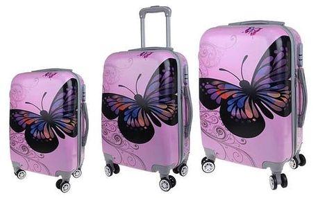 Sada 3 skořepinových kufrů (Pink Butterfly)