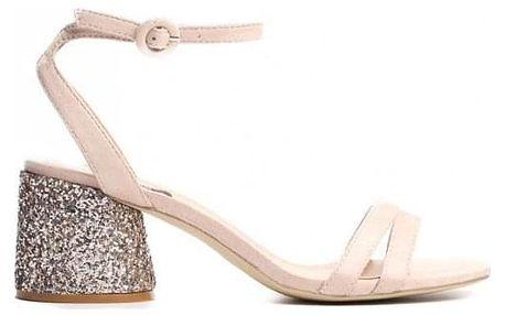 Dámské béžové sandály na podpatku Gal 9248