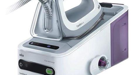Žehlicí systém Braun CareStyle 5 IS 5043/1 WH bílý/fialový + dárek Žehlicí prkno Braun IB3001BK v hodnotě 2 690 Kč + DOPRAVA ZDARMA