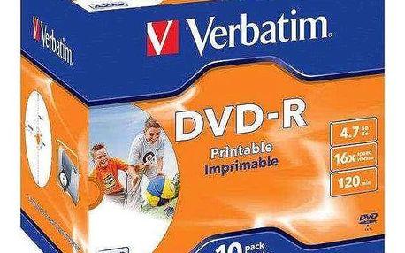 Verbatim DVD-R 4.7GB, 16x, printable, jewel box, 10ks (43521)