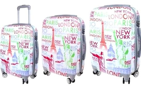 Sada 3 skořepinových kufrů (City - bílá)