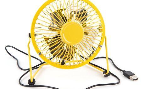USB větrák žlutá, 13,5 x 11 x 15 cm
