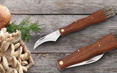 Houbařský nůž s dřevěnou rukojetí a kartáčkem