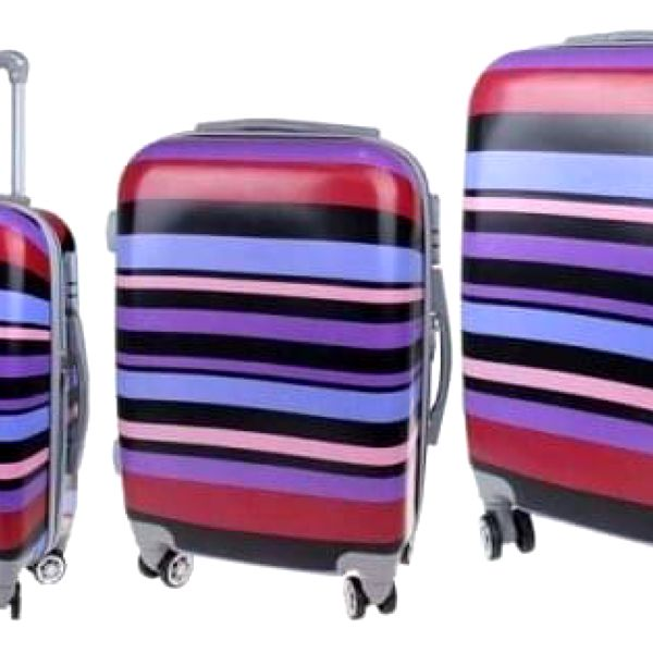 Sada 3 skořepinových kufrů (Fialové pruhy)
