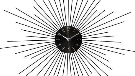 Emako Kulaté hodiny, nástěnné hodiny, stříbrné hodiny SUN, barva černá - Ø 50 cm