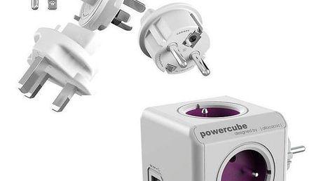 Powercube ReWirable USB + Travel Plugs - fialový fialový