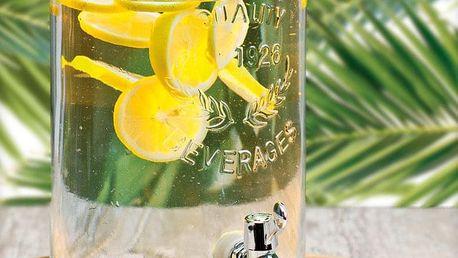 EH Excellent Houseware Skleněná nádoba s kohoutkem a víkem - dávkovač nápojů, 5,5 l