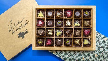 24 pralinek a tabulka 68% čokolády podle vaší chuti