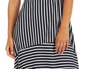 Letní plážové šaty s balonovou sukní tmavě modrá