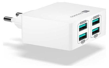 Nabíječka do sítě Connect IT Fast Charge 4x USB, 4,8A s funkcí rychlonabíjení bílá (CWC-4010-WH)