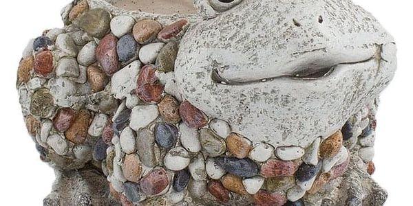 Zahradní dekorace Květináč s kamínky Žabka, 27 x 17,5 x 24 cm