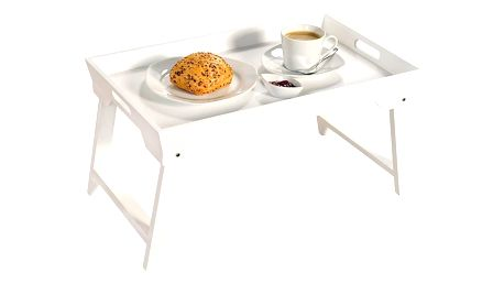 Kesper Elegantní skládací stůl v bílém provedení, dřevěný stůl, bílý stůl, podnos, podnos do postele, stolek do postele,