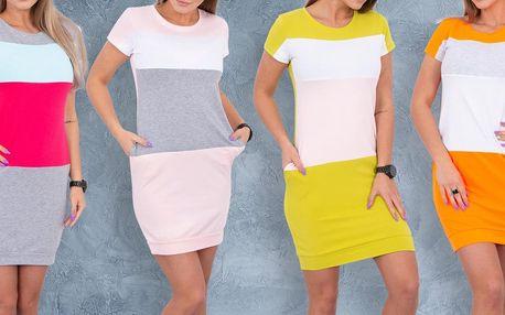 Pohodlné trojbarevné šaty s kapsami