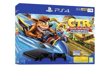 Herní konzole Sony PlayStation 4 1 TB + Crash Team Racing + 2x ovladač černá (PS719936206)