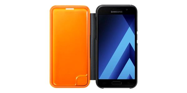 Pouzdro na mobil flipové Samsung Neon flip pro Galaxy A3 2017 černé (EF-FA320PBEGWW)2