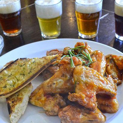 12 ks křídel a ochutnávka 4 piv v Kolčavce