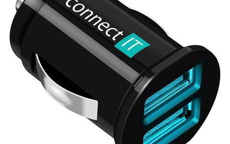 Connect IT 2x USB, 2.1A/1A černý (CI-176)