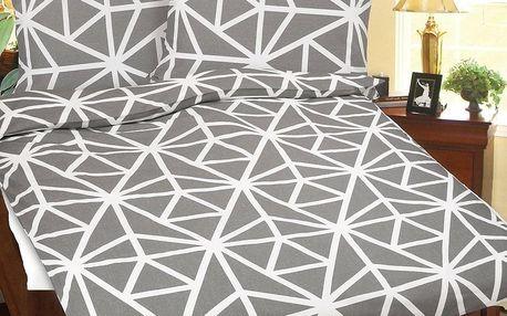Bellatex Povlečení bavlna Šedo-bílá geometrie, 140 x 200 cm, 70 x 90 cm