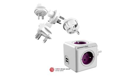 Cestovní adaptér Powercube ReWirable USB + Travel Plugs - fialový fialový