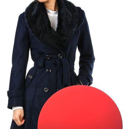Kabát dámský s kožešinou červená