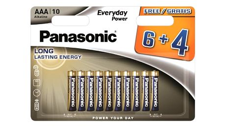 Baterie alkalická Panasonic Everyday Power AAA, LR03, blistr 6 + 4ks (408595)