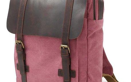 Retro batoh s koženou klopou růžová