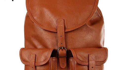 Velký dvoukapsový kožený batoh - Česká výroba zrzavá