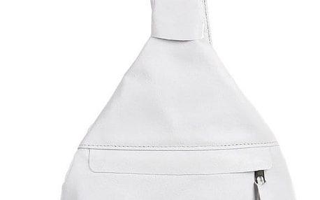 Batoh/kabelka 3v1 z pravé kůže - malý - Česká výroba bílá