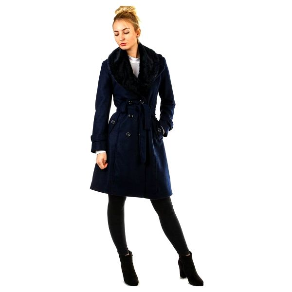 Kabát dámský s kožešinou tmavě modrá2