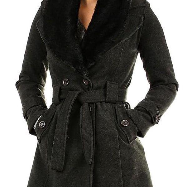 Kabát dámský s kožešinou tmavě modrá3