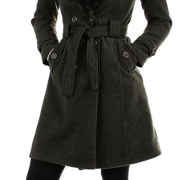 Kabát dámský s kožešinou tmavě modrá4