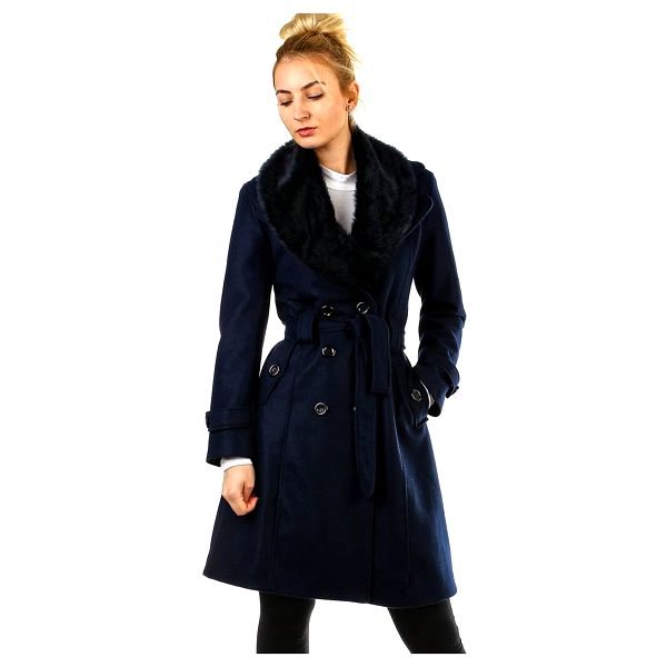 Kabát dámský s kožešinou tmavě modrá