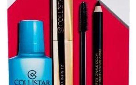 Collistar Infinito dárková kazeta pro ženy řasenka 11 ml + tužka na oči s aplikátorem 1,2 g Black + odličovací přípravek Gentle Two Phase 50 ml Extra Black