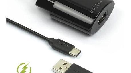 FIXED 1x USB, 2,4A + USB-C kabel černá (FIXC-UC-BK)